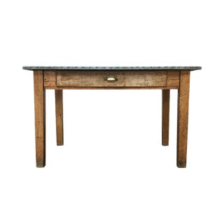 20th Century Industrial Table With Zinc Top For Sale