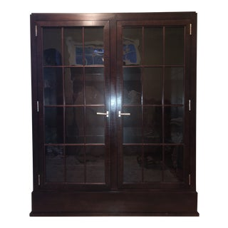 Traditional Custom Mahogany Cabinet With Glass Doors and Adjustable Shelves For Sale