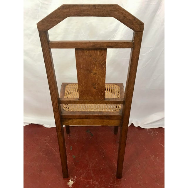 Brown French Oak and Cane Art Deco Dining Chairs For Sale - Image 8 of 9
