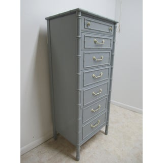 Vintage Thomasville Allegro Faux Bamboo Painted Dresser Lingerie Chest Preview