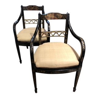 Regency Style Decorated Arm Chairs - a Pair For Sale