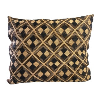 """African Lg Embroidered Kuba Textile Pillow Congo 21.5"""" by 15.5"""" For Sale"""