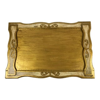 1960s Italian Florentine Gold Writing Desk Tray For Sale
