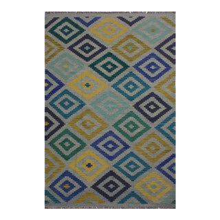 Kilim Alyce Hand-Woven Wool Rug - 5′7″ × 7′9″ For Sale