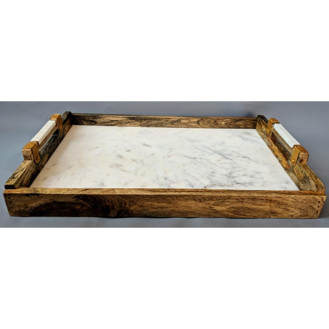Handcrafted Wood & Marble Bar Tray For Sale - Image 4 of 12