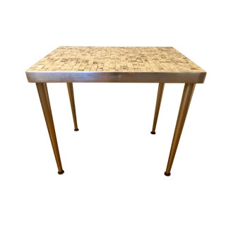 Mid Century Brass Tile Top Table For Sale