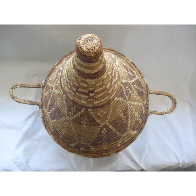 Lidded African Woven Basket - Image 6 of 9