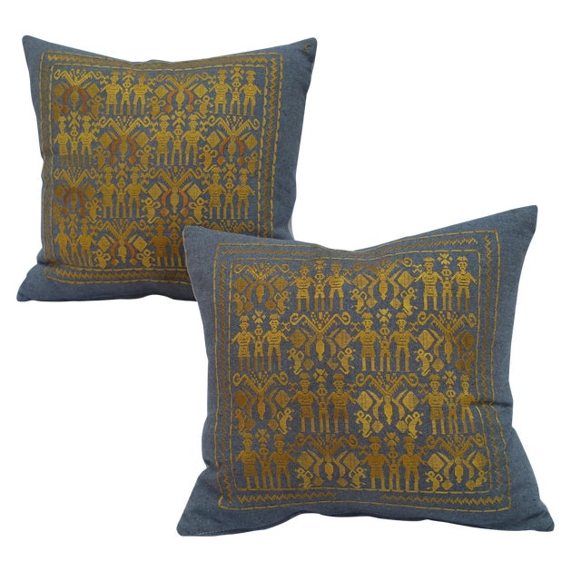 Silk on Wool Tribal Pillows - Pair - Image 1 of 5