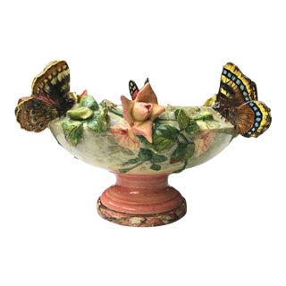 19th Century Majolica Roses and Butterfly Jardinière t Delphin Massier For Sale