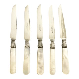 "Antique Mother of Pearl Knives With ""L"" Monogram - Set of 6"