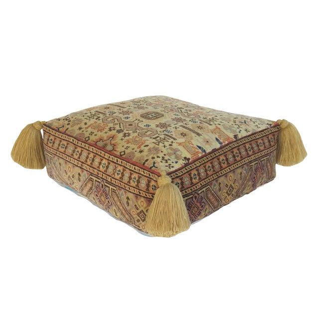 Vintage Turkish Honey Wool Pouf For Sale