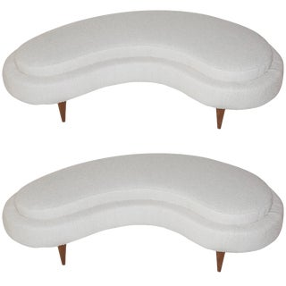 Pair of 2000s Italian Ottomans in the Style of Federico Munari