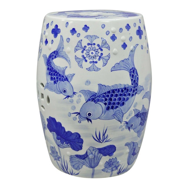 Blue & White Koi Fish Porcelain Chinese Garden Stool For Sale