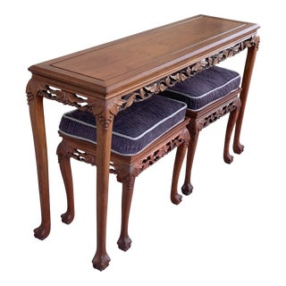 20th Century Asian Antique Hand Carved Rosewood Sofa Table With Matching Stools - 3 Pieces For Sale