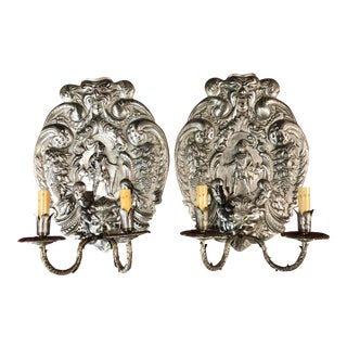 Antique Cast Metal Two Light Wall Sconces With Gargoyles Flora and Hunters- a Pair For Sale