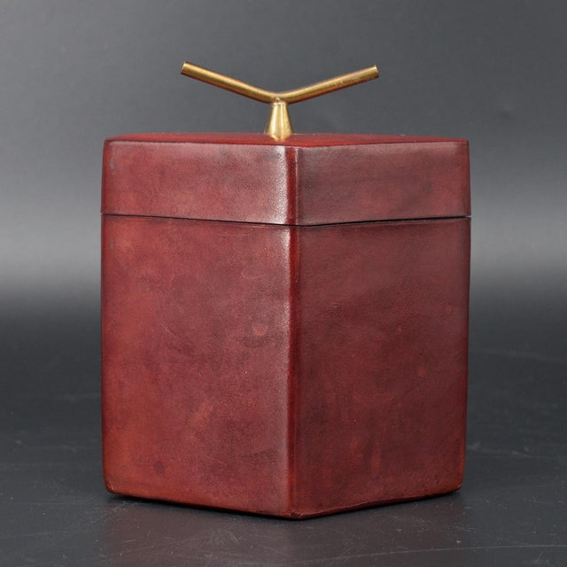 Mid-Century Modern Brass Handled Red Leather Trinket Box Lid ScaccoMatto Italy Midcentury Regency For Sale - Image 3 of 10