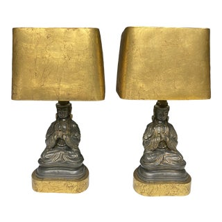 Hollywood Regency James Mont Style Seated Buddha Lamps With Gold Leaf Shades - a Pair For Sale