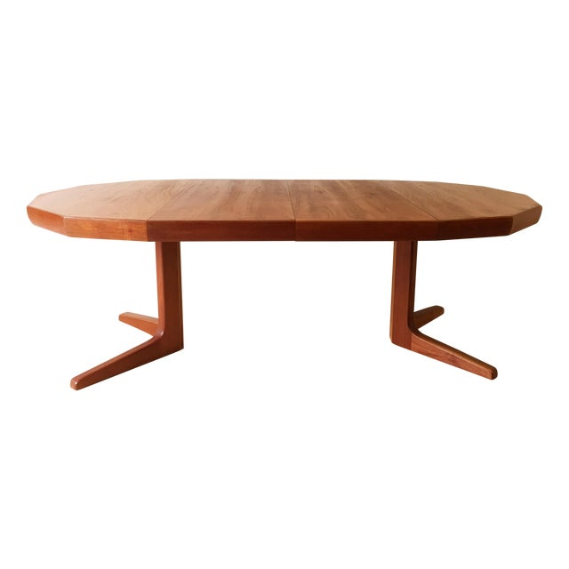 Vintage Danish Teak Extending Dining Table Chairish - Teak oval extension dining table