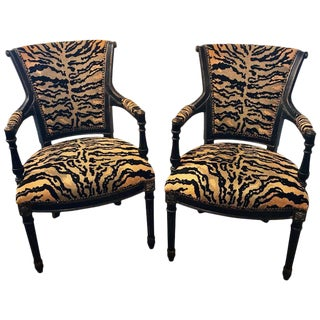 Pair of Maison Jansen Style Ebonized Directoire Leopard Print Armchairs For Sale