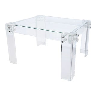 Lucite and Glass Coffee Table For Sale