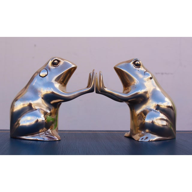 Brass Frog Bookends - A Pair - Image 2 of 5