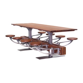 The Industrial Swing-Out-Seat Outdoor Dining Table Set For Sale