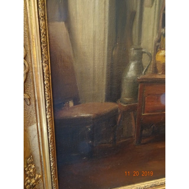 Beautiful 19th century French Interior painting, oil on canvas in a gilt wood frame. A vasselier filled up with painted...