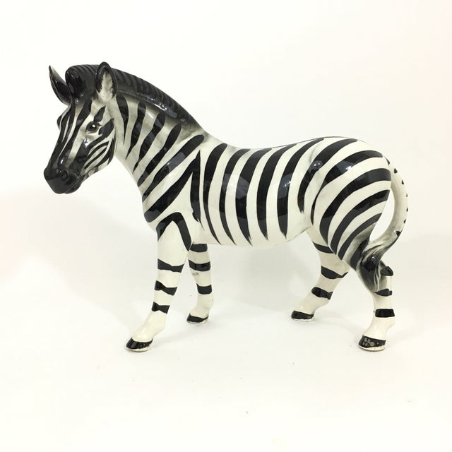 Ceramic Ceramic Zebra Figure Statue For Sale - Image 7 of 9