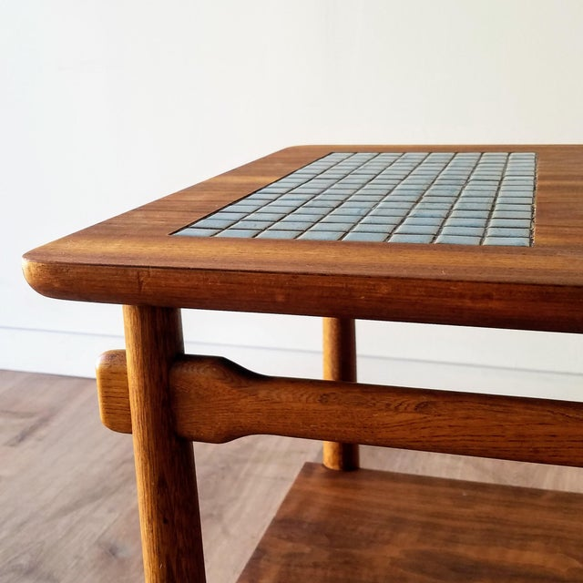 Brown 1960s Lane Side Table With Mosaic Tile Inlay For Sale - Image 8 of 13