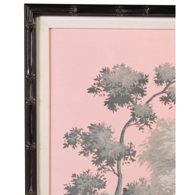 Chinoiserie Vintage Chinoiserie Artwork of Children Playing Painted in Grisailles on Pink Background For Sale - Image 3 of 5