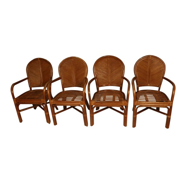 Brown Sheaf of Wheat Rattan Dining Table and Chairs For Sale - Image 8 of 11