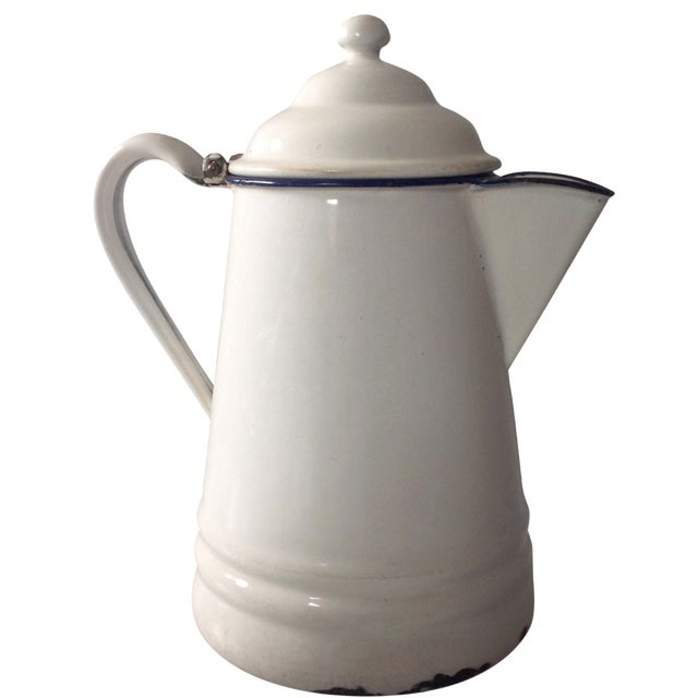 French Country White Enamel Pitcher - Image 1 of 11