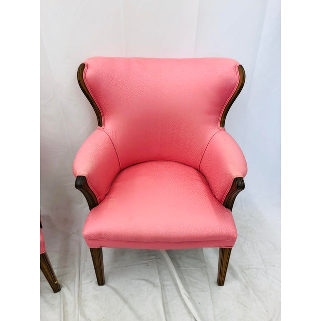 Pink Pair Vintage Mid Century Modern Arm Chairs With Pink Upholstery For Sale - Image 8 of 10