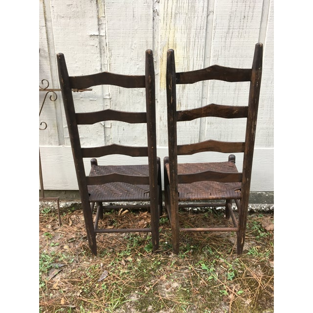 Mismatched Ladder Back Country Chairs - Set of 4 For Sale - Image 4 of 12