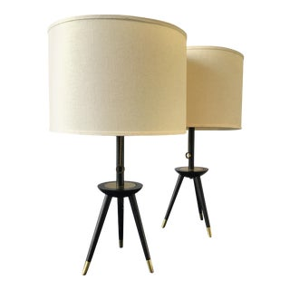 Wood and Brass Tripod Table Lamps - A Pair For Sale