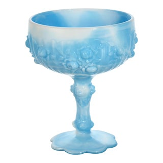 Early 20th Century Blue Slag Glass Pedestal Bowl For Sale