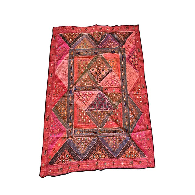 1980s Mogul Indian Tapestry Red Banjara Vintage Bohemian Wall Hanging Throw For Sale - Image 5 of 5