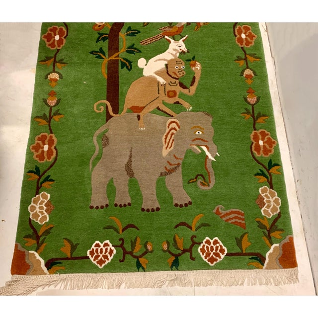 Traditional Elephant & Monkey Hand Knotted Wool Rug For Sale - Image 3 of 7