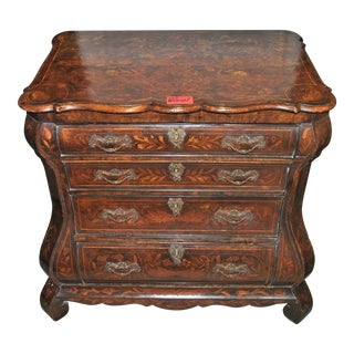 18th Century Dutch Walnut Marquetry Bombe' Chest of Drawers For Sale