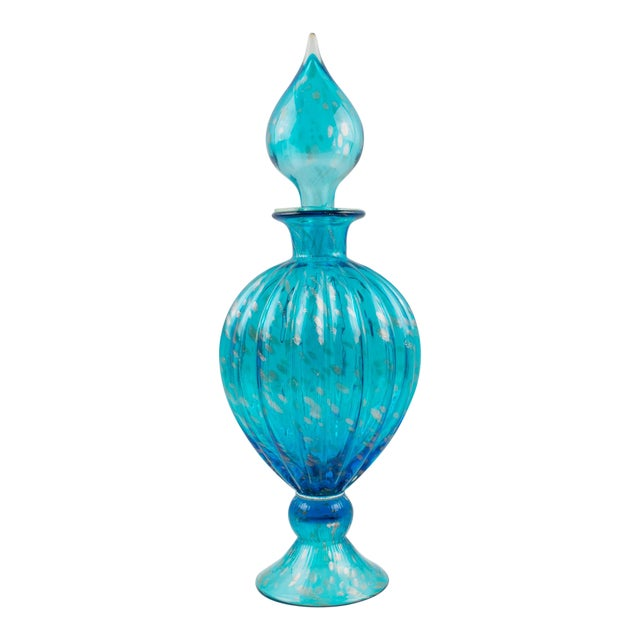 Italian Empoli Hand Blown Turquoise Glass Lidded Apothecary Jar Dispenser For Sale