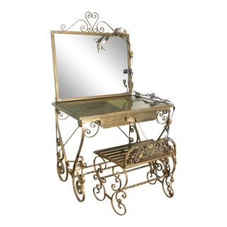 Wrought Iron Vanity & Mirror With Granite Table Top , Floral Accents & Coordinating Bench For Sale