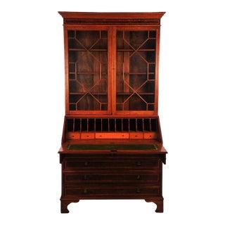 Late 19th Century Vintage Empire Mahogany Drop Leaf Secretary Desk For Sale