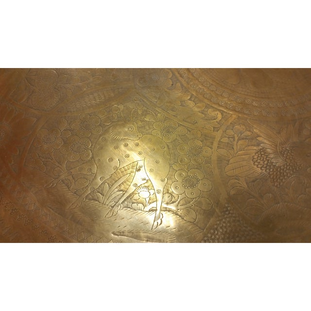 Mid-Century Brass Top Moroccan Style Coffee Table For Sale - Image 10 of 11