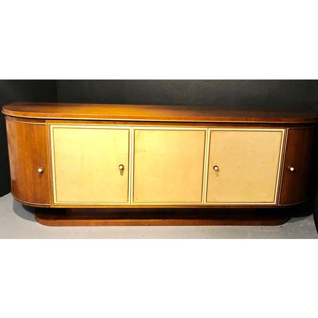 Wood French Art Deco Sideboard or Credenza With Parchment Front, Monumental For Sale - Image 7 of 13