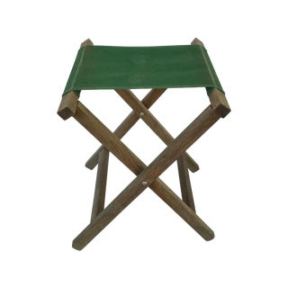 Green Folding Camp Canvas Stool For Sale
