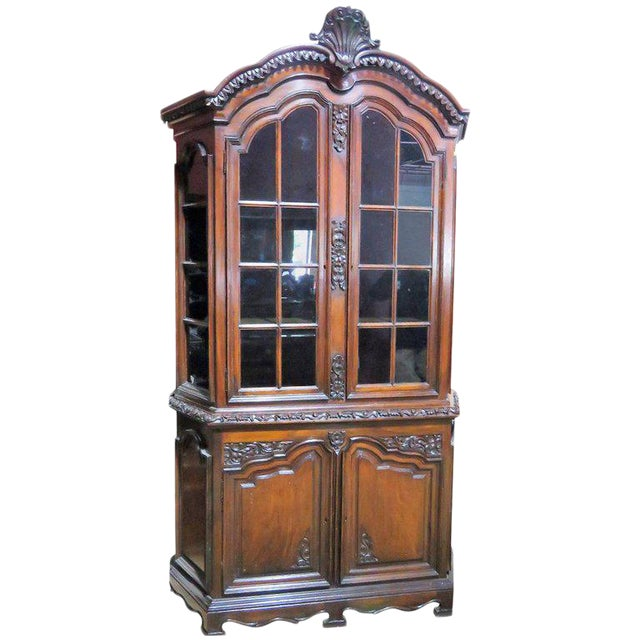 19th Century Carved Georgian Style Two Piece China Closet For Sale