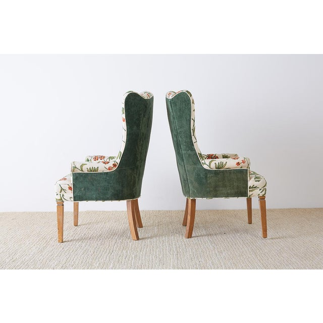 English Traditional Pair of English Style Crewel Work Wing Chairs For Sale - Image 3 of 13