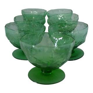 Mid-Century Lido Milano Green Sherbet/Desert Glasses - Set of 7 For Sale