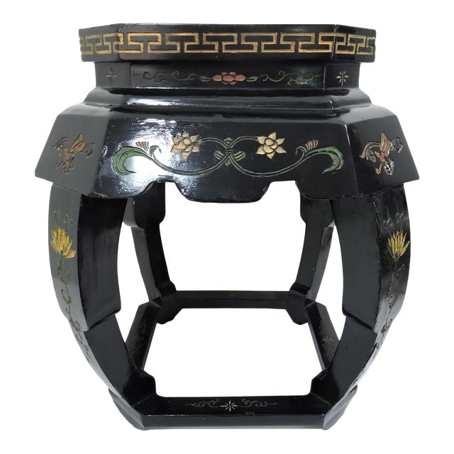 Vintage Chinese Black Lacquer 'Lotus Lake' Floral Stool / Side Drinks Table For Sale