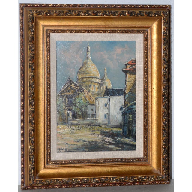 "Wood Raymond Besse ""Sacré-Cœur, Paris"" Original Oil Painting C.1950s For Sale - Image 7 of 7"